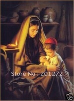 "Free shipping 100% handicraft oil painting:""Mother and kid pray In canvas"" 24x36""inch"