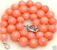 Beautiful 8MM round Pink Coral Necklace 18''