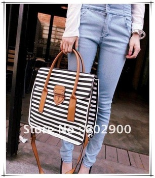 2011 new design retro student style pretty girls canvas bag, Pu handle striped school shoulder bag, botton close qualitied bag