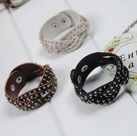 New fashion imitated  leather pvc lady's weave bracelet BE-001(4color mix)