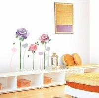 Flower Wall paper lovely decal removable stickers Free shipping