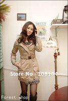 Women's fashion line cap fold design slim long trench coat with belt(SSQX150)