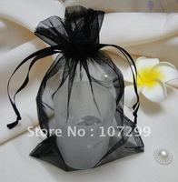 FREE SHIPPING--50PCS 10x15cm Black Sheer Organza Wedding Favour Party Gift/Candy Bag
