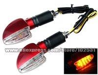 2 Pcs Motorcycle 12x LED Turn Signals Indicators Amber TA056