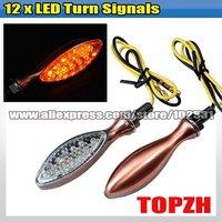 2 Pcs Motorcycle 12 LED Turn Signals Indicators Amber TA054