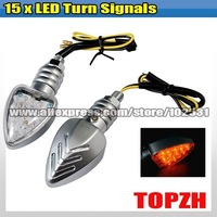 2 Pcs Motorcycle 15x LED Turn Signals Indicators Amber TA051