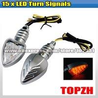 2 Pcs Motorcycle 15x LED Turn Signals Indicators Amber TA051
