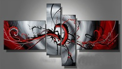 hand-painted Passion color High Q. Home Decoration Modern Abstract best-selling Oil Painting on canvas 4pcs/set mixorde(China (Mainland))