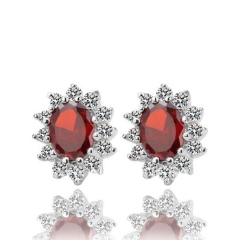 Free shipping,fashion jewelry,stud red gemstone earring.GPE026