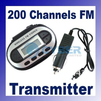 Wireless FM Transmitter 200 Channels for ipod/MP3/CD/VCD STEREO RADIO dropshipping 102