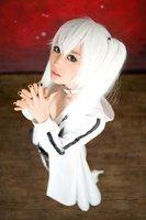 Vocaloid Hatsune Miku Long Straight White Cosplay Wig  + 2 Ponytails 120cm