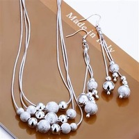Free Shipping Wholesale Fashion Jewelry Set,More than three-bead 2 Piece set,925 Sterling silver Necklace&Bracelet&Earrings T003