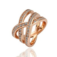 BM001  wholesale luxury 18K Gold plated Sparkling Swa Crystal ring