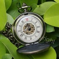 Bronze Tone Pattern Case Mechanical Pocket Watch FOB NR