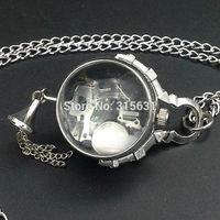 Silver Tone Crystal ball Quartz Pocket Watch Women Gift