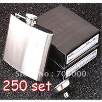 250SET/LOT New In Retail Box Stainless Steel Pocket Drink Hip Flask Wine Set /wine pot / flagon 5OZ 304#