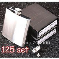 125SET/LOT New In Retail Box Stainless Steel Pocket Drink Hip Flask Wine Set /wine pot / flagon 5OZ 304#