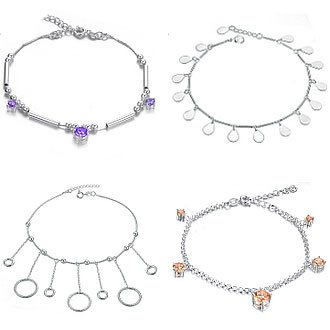 OPK JEWELRY MIXED ORDER 925 sterling silver anklet charm chain inlaid crystal damond 10pcs/lot free shipping