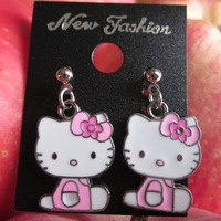 Hello kitty Earrings/Beautiful Dangler/cute pink Earrings Jewelry/ 50pcs/lot(Unique pink bowknot +free shipping #04