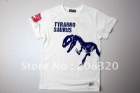 2013 Hot Sale New style Boy's White Color 100% cotton T-Shirt Dinosaur Print 140G (Size: 130/140/150)