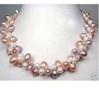 """18"""" purple white pink pearl necklace"""