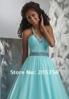 Free shipping sexy ball gown Homecoming Dress Halter Floor Length Empire Waist Organza Beaded Style