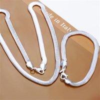 Free Shipping Wholesale Fashion Jewelry Set,6MM Soft Yigu chain 2 Piece set,925 Sterling silver Necklace&Bracelet&Earrings T012