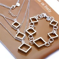 Free Shipping Wholesale Fashion Jewelry Set,Square grid 2 Piece set,925 Sterling silver Necklace&Bracelet&Earrings T037