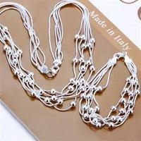 Free Shipping Wholesale Fashion Jewelry Set,Five-wire bead 2 Piece set,925 Sterling silver Necklace&Bracelet&Earrings T038
