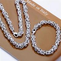 Free Shipping Wholesale Fashion Jewelry Set,Shrimp buckle 2 Piece set,925 Sterling silver Necklace&Bracelet&Earrings T045