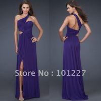 LD1198 Sexy Chiffon One-Shoulder Beadings Evening Fashion Dress