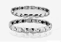 Wholesale titanium steel, health care magnet bracelet polished silver-plated anti-fatigue, couples bracelet