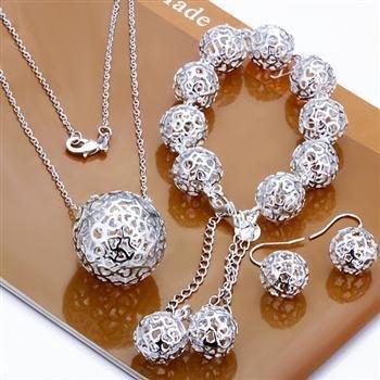 Модный Jewelry Set, Fall ball 3 Piece set, 925 Sterling silver NeckКружево&Bracelet&Earrings ...