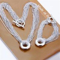 Free Shipping Wholesale Fashion Jewelry Set,Net O 2 Piece set,925 Sterling silver Necklace&Bracelet&Earrings T058