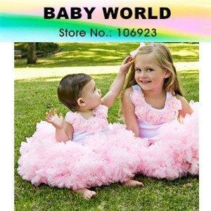 Free Shipping Wholesale pink pettiskirt dresses set, rosette tops and pettiskirts, baby pettiskirt dresses,baby tutu skirts set
