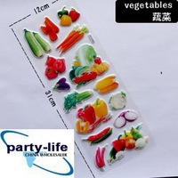 (No.DP030) 3D DIY vegetable Sticker Wall Decor Children Room Book Bag Decoration nice gift kid toy,100sets/lot, free shipping