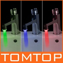 Mini Copper Three-color LED Water Stream Temperature Sensitive LED Faucet Tap,H4720,freeshipping, dropshipping wholesale(China (Mainland))