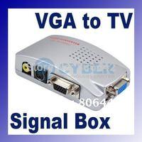 Universal PC VGA to TV AV RCA Signal Adapter Converter Video Switch Box Supports NTSC PAL system 018