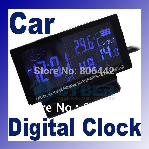 LCD Display Car clock with Hygrometer Digital Automotive Thermometer Weather Forecast(China (Mainland))