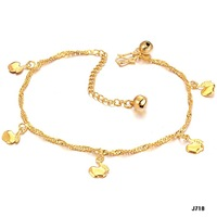 Newest 2014 Foot Chain Heart Pendant 18K Gold Plated Never Fade Anklets Girls Ankle Bracelet Jewelry Wholesale Price  718