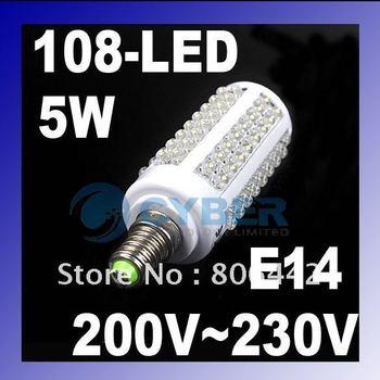 5W 108-LED E14 Corn Light Bulb Lamp Cool White  6500-7000K Energy Saving 200-230V Free Shipping