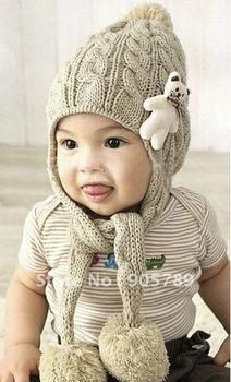 Free Shipping New Popular Baby Autumn Winter Cap Protect  Ear ap Girl's Knitting Hat Boy's Cap