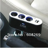 freeshipping wholesale Three in one cigarette lighter / USB converter / car power converter