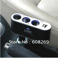 freeshipping wholesale Three in one cigarette lighter / USB converter / car power converter