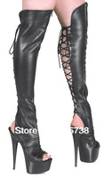 Free shipping, 1pair-over the knee high heel boots, sexy high heel boots,lacing at the behink,toeless,women's boots