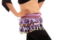 Belly Dance Paillette Hip Scarf 88 Golden Coins Belt Womens dance wear Yoga accessories mixed colors free shipping 12PCS/LOT