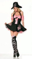 Free Shipping wholesale black and pink pirates' costume  game uniform halloween costume cosplay w2021