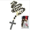 Free Shipping!Black Bead chain Cross Necklace Sweater chain