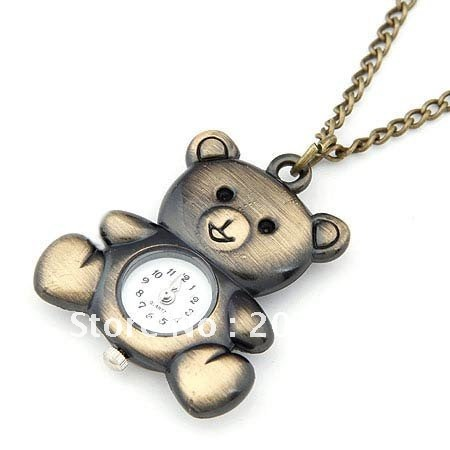 Free shipping New Antique Cute bronze Necklace Vintage Pocket Watch,Cady Bear pocket watches necklace 20 pcs(China (Mainland))