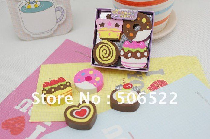 Free shipping, Wholesale Cake&amp;Ice Cream Shaped Eraser, Rubber Material,Fancy Eraser, Cartoon Eraser,4pcs/box,24sets/lot(China (Mainland))